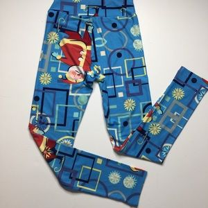 LuLaRoe Christmas leggings OS blue w Santa's